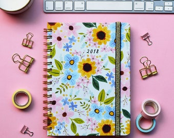 FREE SHIPPING Daily Planner 2018   12 Months Planner   Choose your start month   Lively Flowers design