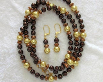 """Brown and gold glass pearl necklace set, 1 or 2 strands, 36""""long brown and gold faux pearl necklace with 1"""" leverback dangle earrings, 11-X"""