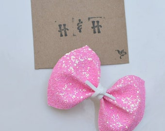 Neon Pink Chunky Glitter Bow