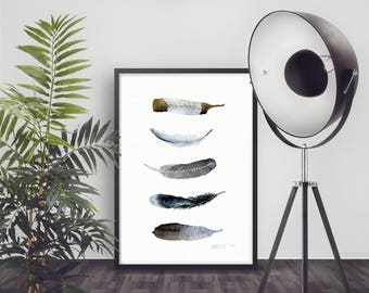 Limited edition wall art. Scandinavian design. Woodland painting. Affiche Scandinave. Feather art print from original feather painting.
