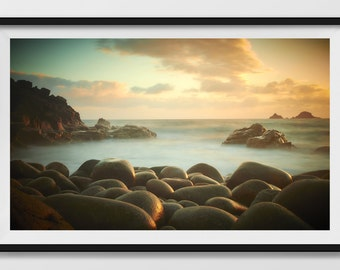 Downloadable Instant Digital Download Photograph, Abstract Seascape Sunset in Cornwall Fine Art photograph, also available as a print