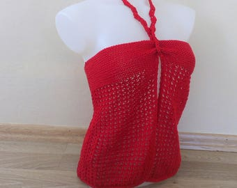 Hot Red Halter Blouse