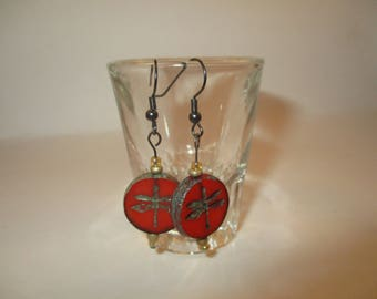 red dragonfly earrings