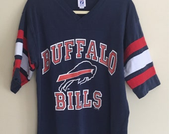Buffalo Bills Jersey Shirt T Tee Vintage New York Navy Blue Red Cotton Poly Blend Mens L Large