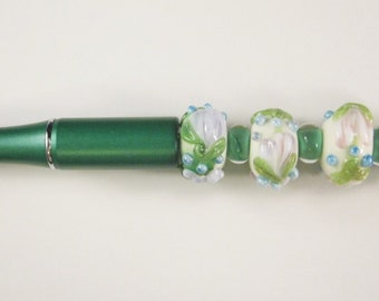 Ballpoint Pen, Emerald Green, Floral Lampwork, Beaded, Artisan Crafted, One of a Kind, SRAJD, Hand Crafted Glass, OOAK, Lime Green Pen
