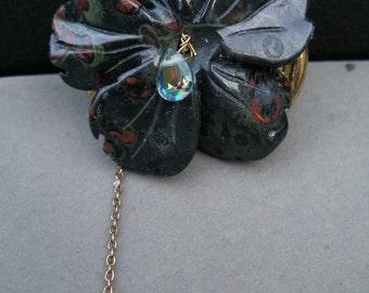 Brooch Pin - Midnight Garden  -  stone flower,  brass spider, more  paganteam, OlympiaEtsy, etsyBead, Halloween24/7, FunkyAlternativeJewelry
