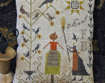 Primitive Cross Stitch Pattern - Fancey Blackett's Shoo! - Choose Pattern Only or Pattern w/Floss Kit
