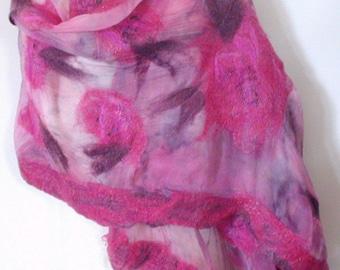 Nuno Felt Ruby Shawl, Merino Wool, Hand Dyed Silk Fabric, Wrap, Cape, Free Shipping