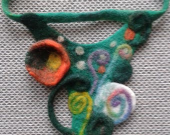 Felted art necklace ,necklace made from wool