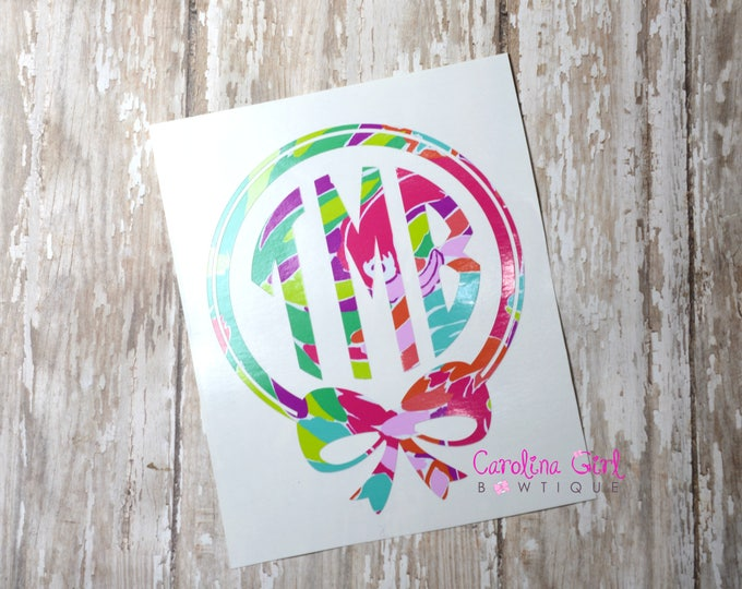 Lilly Pulitzer Inspired Bow Monogram Decal ~ Yeti Decal ~ Lilly Car Decal ~ Lilly Decal ~ Lilly Sticker