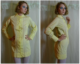 60s pastel yellow lace detail button up dress with triangle collar