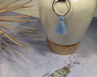 Earrings silver tone blue fabric