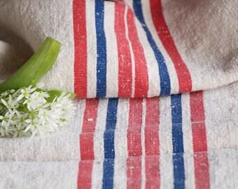 FP 507: antique, grainsack,CORNFLOWER Blue RASPBERRY Red, cushion, 44.88 long ,grain sack fabric, upholstery project, gogmuljalu