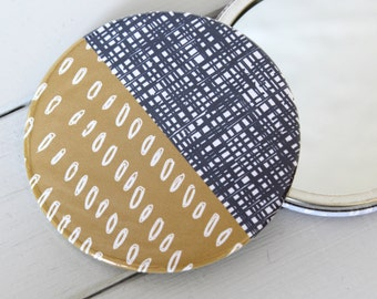 Yellow and Blue Large Mirror Doodle pattern pocket cosmetic make up