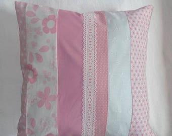 Housse de coussin en tissu - Rose / Blanc