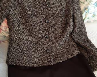 Brown skirt suit, wool, never worn