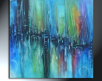 Abstract Colorful Large Painting On Canvas Acrylic Original Artwork Size 36x36