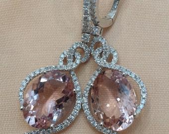 One pair of 18 K white gold diamond, pink  morganite dangle earrings