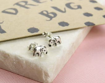 Dream Big Elephant Earrings - Silver Elephant Stud Earrings - Gift for Friend - Elephant Jewellery - Dainty Elephant Earrings - Gift for Her