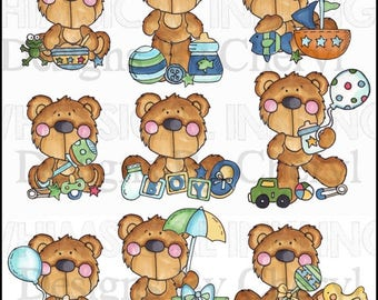 Busy Bears Baby Boy Clipart Collection- Immediate Download
