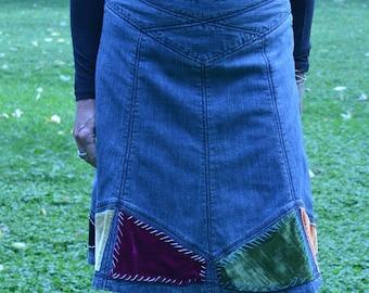 Women's Retro Denim Skirt Velvet Inserts