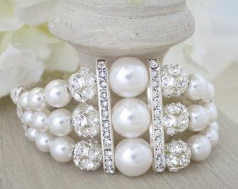 Art Deco bridal bracelet, Swarovski rhinestone and pearl wedding bracelet