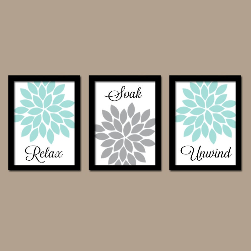 Floral Bathroom Decor Aqua Gray BATHROOM Wall Art