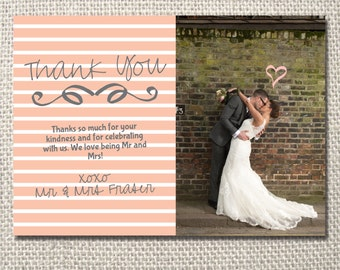 Pink stripes wedding thank you printable card - with photo