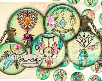 DreamCatcher Circle images for pendants and craft downloadable images print-it-yourself sheets 1.5 inch 16 mm 12 mm 1 inch printable c254