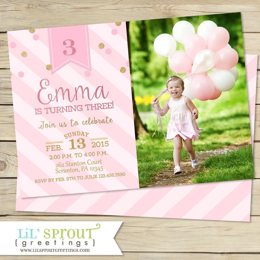 Pink And Gold Glitter Girls Birthday Invitation Printable