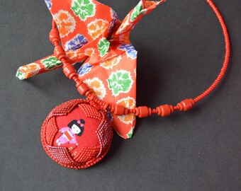 Red Peony - Bead Embroidery Necklace