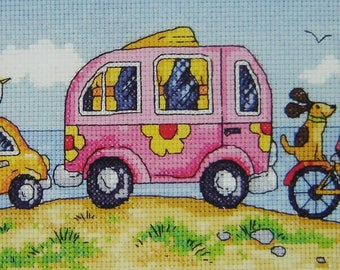 Are We There Yet? Cross Stitch Kit from Heritage Crafts- By the Sea range, designed by Karen Carter, Cross stitch kit, 14 ct aida, beach