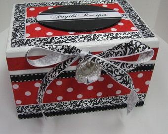 Newlywed Recipe Box -Red White Polka Dot  and Black White Damask Trim