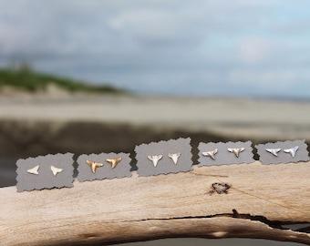 Shark Teeth Earrings Studs made in Charleston, SC-  Gold // Silver // White // Beachy Bridesmaids Gift // Coastal Wedding // Shark Week