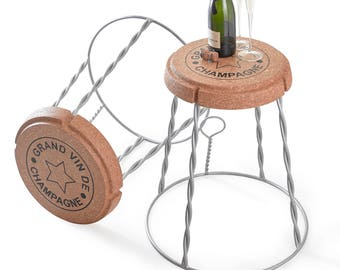 Giant Champagne Cork Wire Cage Stool/Side Table