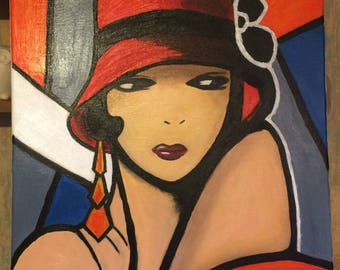 Original abstract woman in the 30 year Hat
