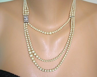 Art Deco Pearl Necklace, Vintage Pearls, Great Gatsby Jewelry, Wedding Jewelry, Bridal Pearls, Cream Pearls, Bridal Jewelry, 20s Necklace