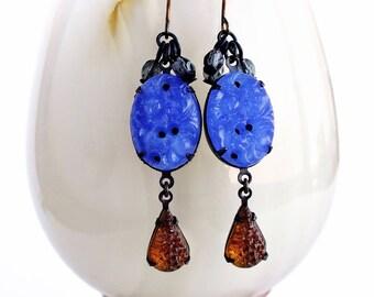Royal Blue Glass Dangle Earrings Vintage Carved Glass Jewelry Royal Blue Root Beer Brown Earrings