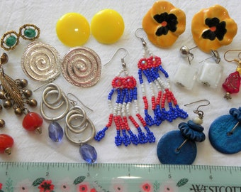 Vintage colorful earring lot, 10 pairs vintage earring lot, beaded earring lot, 80's earrings lot, estate earring lot, post earring lot