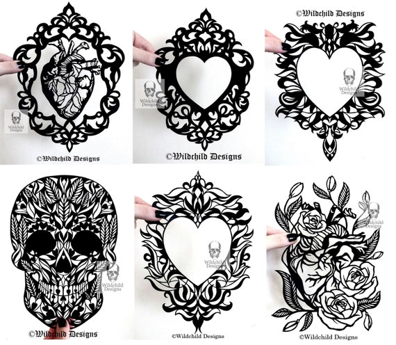 Alternative Valentines Day x 6 Papercutting Templates, Commercial ...