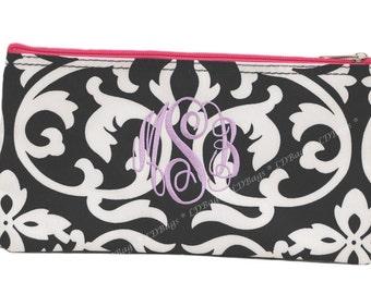 Personalized Cosmetic Bag   Monogrammed Travel Bag   Damask Makeup bag   Cosmetic Bag    Bridesmaid Gift   Cosmetic Damask Hot Pink Trim
