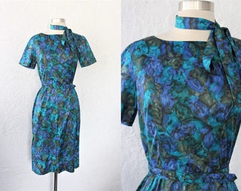 1950s Print Dress / Vintage 50s 60s Aqua Teal Dark Blue Green Abstract Watercolor Painterly Floral Print Sheath Dress / Pin Up Wiggle - XS/S