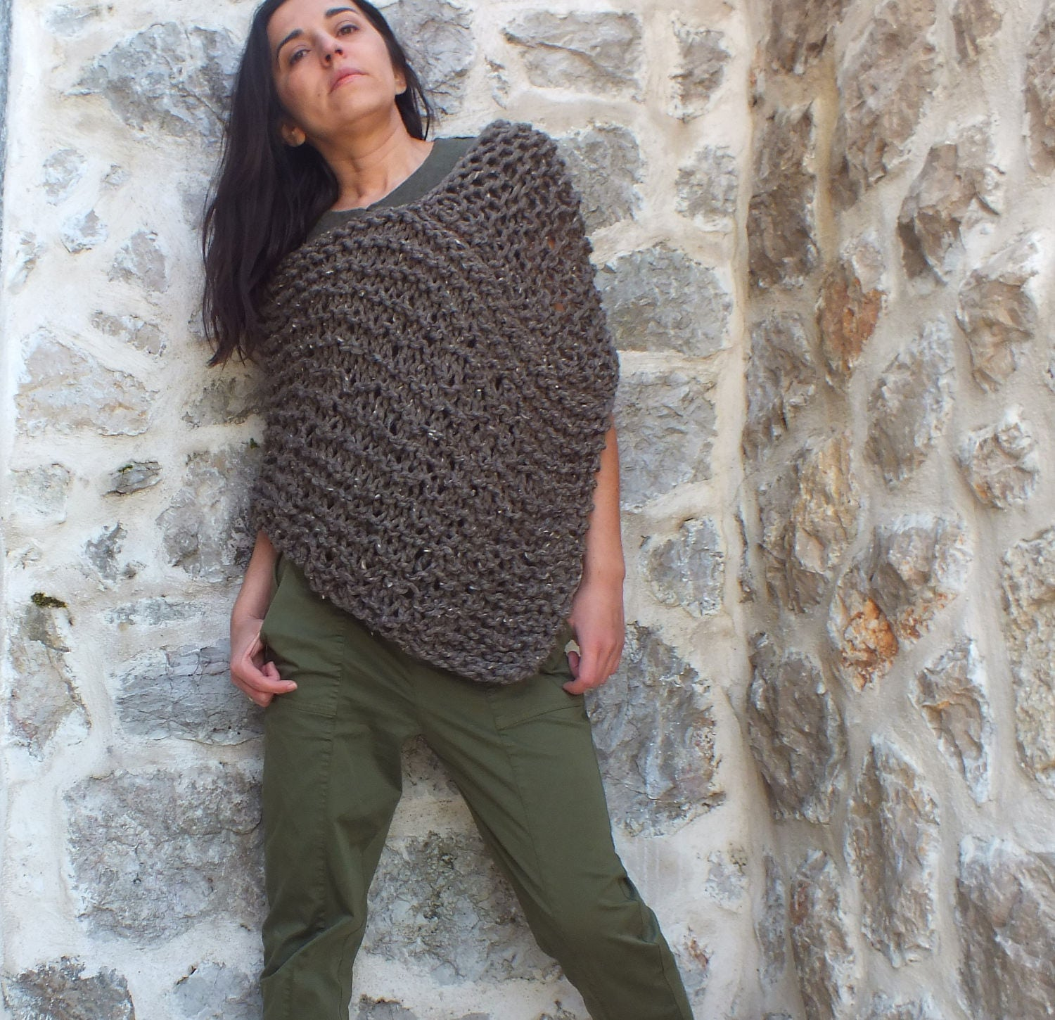 Pattern Poncho - Loose knit Poncho - Pattern for chunky poncho -Easy ...