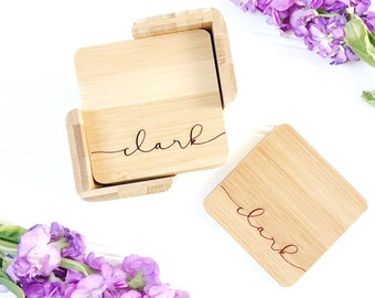 Personalized Coasters. Engagement Gift for Couple, custom coaster set with last name. 5th Anniversary Gift, Custom Wedding Gift.
