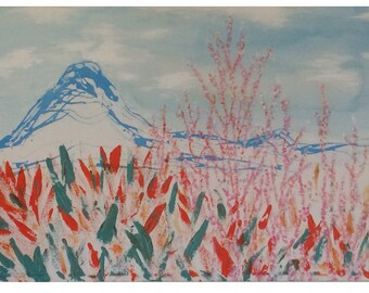 Abstract fynbos (protea) landscape painting, acrylic blues, pinks, oranges on large canvas
