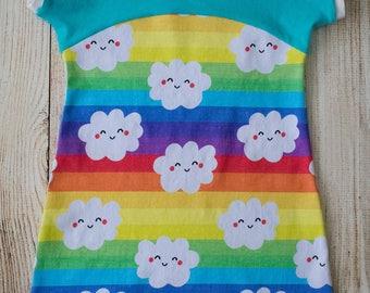 Happy Cloud Dolman Dress, Rainbow, size 3