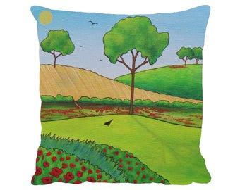 "Summer Fields Cushion, Premium 18"" x 18"" Pillow with Pad - Tracey Zorek Art"