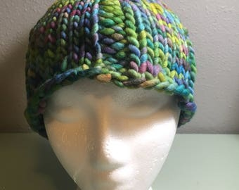 Fun Rainbow Tassel Wool Fall Winter Handknit Hat