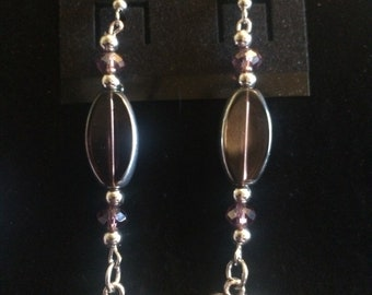 Purple & Silver Elephant Earrings