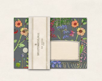 10 x envelope wildflower meadow (grey)